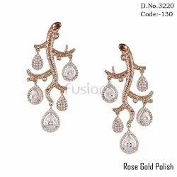 Cubic Zircon Rose Gold Polish Earrings