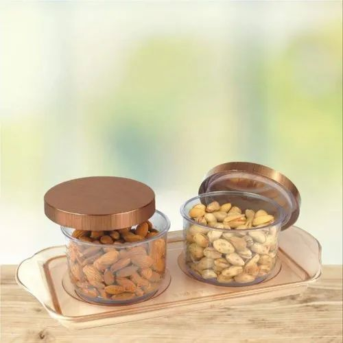 Plain Air Tight 2 Pcs Crysta Plastic Square Dry Fruit Container Set, Round,  Capacity: 500 Ml, Rs 220 /piece | ID: 22012397533