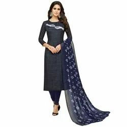 Rajnandini Navy Blue Chanderi Silk Printed Semi-Stitched Dress Material With Printed Dupatta