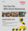 Oddy Barricading Tape Yellow Black (Single Side) - 70 Mm x 50 Mtr