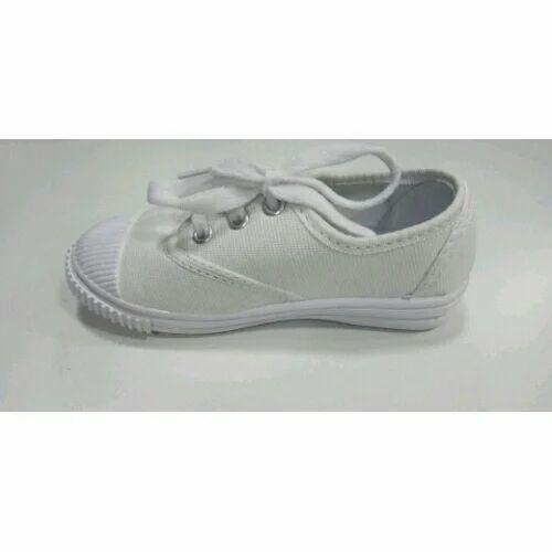 White Canvas School Shoes, Size: 3-10