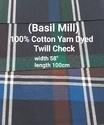 Cotton Yarn Dyed Twill Check ( Basil Mill)