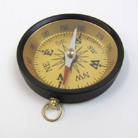 GOLDEN & BLACK POCKET COMPASS