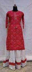Bandhej Kurti with Skirt