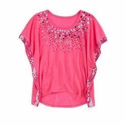 S-XL Georgette Ladies Pink Fancy Tops