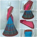Sky Blue And Pink  Color Designer Pallu Half And Half Georgette Saree