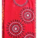 Red 2.5 mtrs Cotton Hand Painted Kurti Material