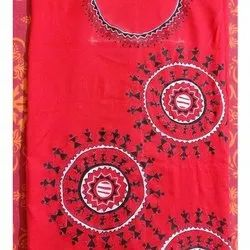 Navarka Red 2.5 mtrs Cotton Hand Painted Kurti Material, GSM: 200-250