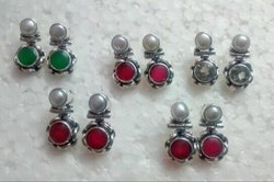 92.5 Ruby Sterling Silver with Pearl Earrings