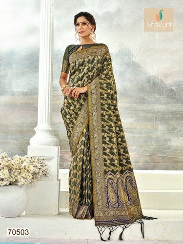 2bb7c7f0299858 Shakunt Sejal Jari Silk Collection Ethnic Wear Saree, With Blouse Piece