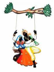 Iron Handmade Handpainted Wall Hanging Lord Krishna Radha Decorative Showpiece Home Decor