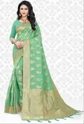 Sea Green Super Net Saree