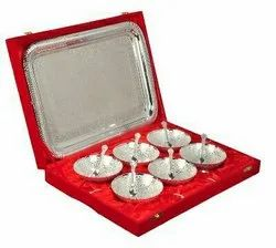 Silver Plated Brass Bowl Set 13 Pcs.