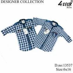 4-ever shirts indigo checks Kids Blue Check Shirt, Features: Pockets