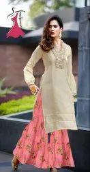 Cotton Stitched Designer Rayon Kurtis With Sharara / Gharrara