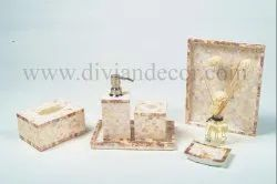 Pink Mother of Pearl Bathroom Set