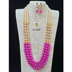 CL Code Magenta Seni Precious Agate And Kundan Stones Party Wear Necklace And Earrings Set