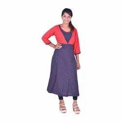 Ladies Dotted Printed Rayon Kurti, Size: XL