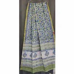 Casual Wear Printed Fancy Kota Doria Saree, With Blouse, 6.3 m