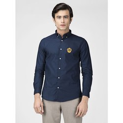 Green Hill Men's Solid Casual Navy Blue Oxford Shirt