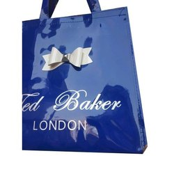 Dark Blue Printed Plastic Carry Bags, For Shopping
