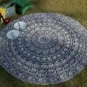 Cotton Mandala Black & White Decorative Round Tapestry Multi Use Table Cover