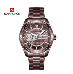 Naviforce Round Chrome Stainless Steel Analog Wrist Watch 9157