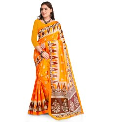 Yellow Colored Poly Silk Casual Saree