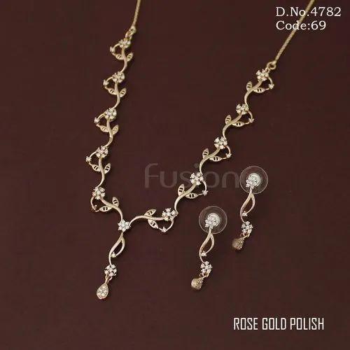 Ad Cz Necklace Set Rose Gold Polish American Diamond Necklace Set Exporter From Mumbai