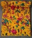 Mogi Yellow Home Decor Bird Kantha Bedspread Cotton Blanket, Size: 60 X 90 Inches
