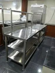 Rectangular Silver Stainless Steel Working Table With Overhead Shelf, For Restarurant, Size: 45 X 24 X 34 Cm
