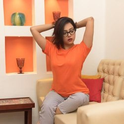 Girls Round Neck T Shirt Plain Orange