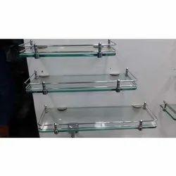Rectangular Transparent Stainless Steel Glass Corner Shelf