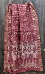 Bagru Hand Block Printed Maheawari Saree