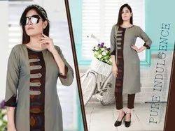 Cotton Straight Fancy Ladies Rayon Kurti, Size: L, XXL