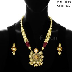 Pearl Beaded Meenakari Pendant Set