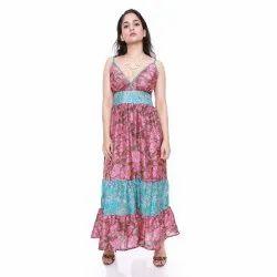Ethnic Wear Printed Vintage Sari Silk Long Dress, Handwash, Size: Regular
