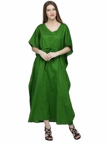 2557d38096 Skavij Womens Kaftan Nightgown Tunic Embroidered Cotton Dress Beach Cover  Up Plus Size - Green