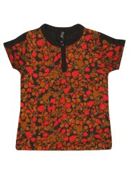 Women Printed Henley T-Shirt