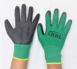 Green On Black Latex Palm Coated Hand Gloves