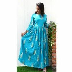 Ladies Sky Blue Printed Cotton Kurti