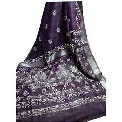 Printed Batik Cotton Slub Sarees, 6.3 m (with blouse piece)