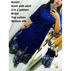 Cotton Silk Skirt Kurti, Size: M-XXL