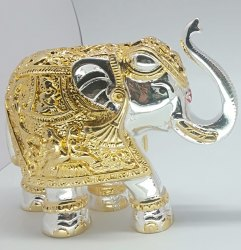 Silver And Gold Plated Elephant Statue