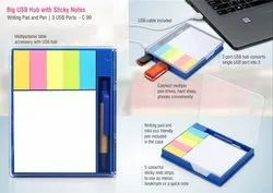 C99 Big Usb Hub With Sticky Notes Writing Pad And Pen  3 USB Ports