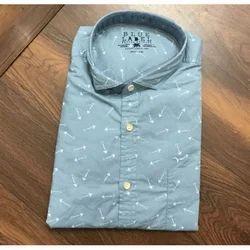 Collar Neck Slim Fit Men Printed Cotton Shirts