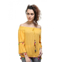 Yellow Offshoulder Colorful Pumpum Top