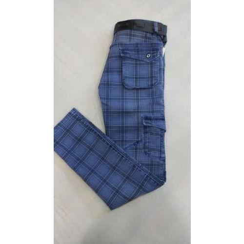 07bf2c92fb8c0b Mens Blue Checked Cotton Pant at Rs 536 /piece | Chickpet ...