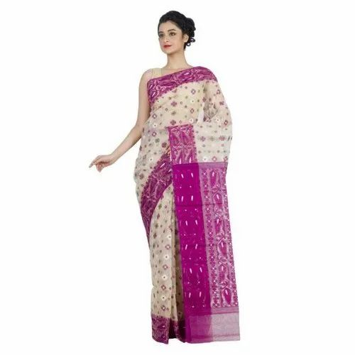 Purple And Off White Festive Wear Ladies Printed Jamdani Silk Saree, 6.3 m (with blouse piece), Packaging Type: Packet