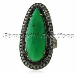 Green Jade Diamond Ring